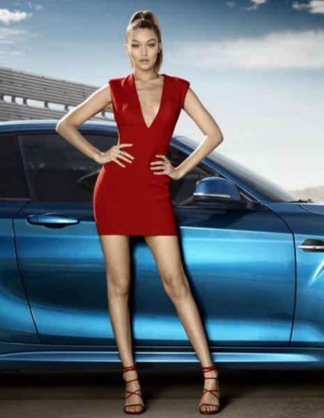 red sleeveless deep mini dress