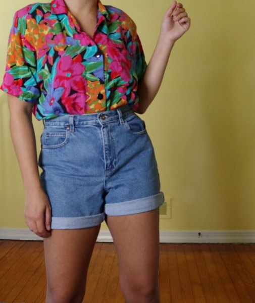 pink printed vintage shirt with high waist denim shorts