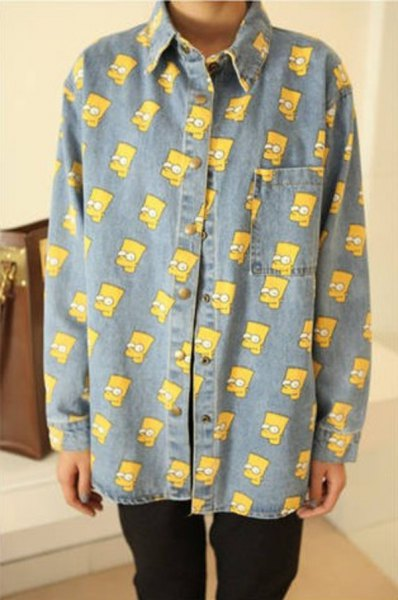 simpson printed chambray vintage shirt with black jeans