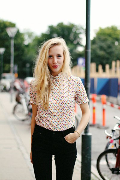 multicolored polka dot-up shirt with black jeans