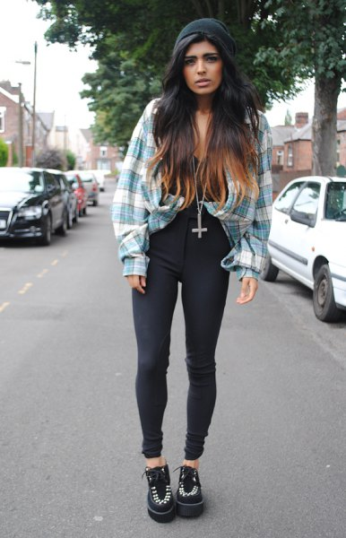 gray and white checkered vintage boyfriend shirt with black high waist jeans