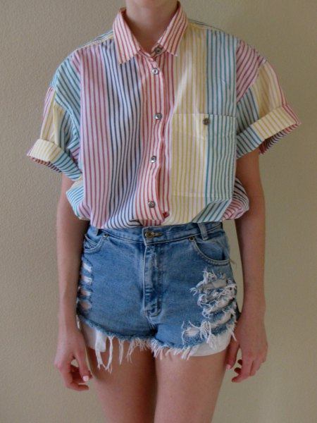 gray and white striped button up shirt with ripped denim shorts