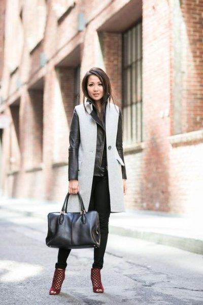 gray long wool sleeveless jacket with black leather jacket