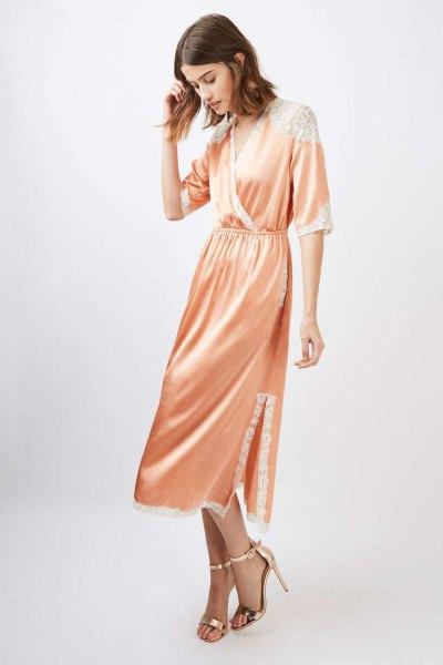 pink silk gathered waist waist wrap dress
