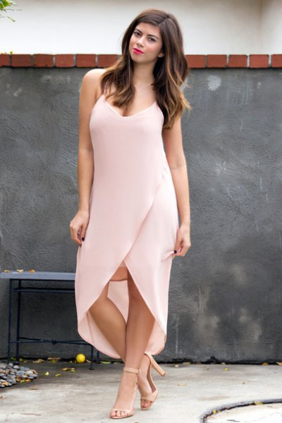 light pink spaghetti strap deep v-neck dress with high maxi