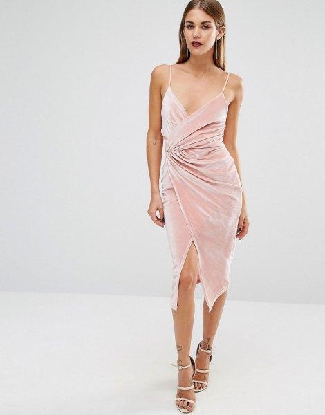 pink velvet midi low cut dress