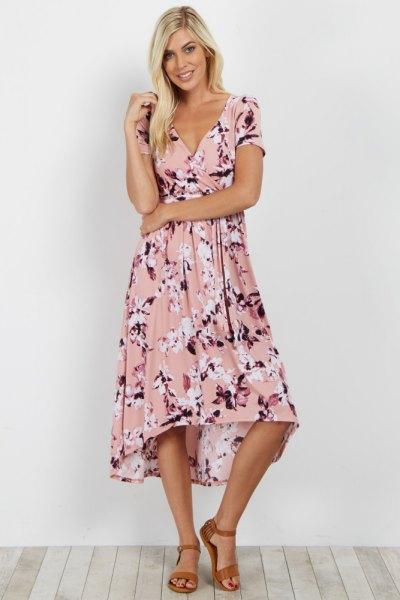 blush pink floral printed midi blown wrap dress