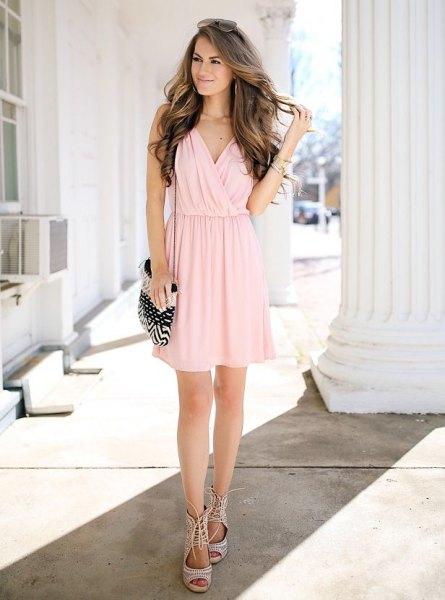 light pink chiffon mini pleated wrap dress