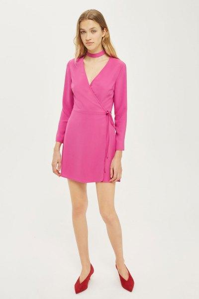 neon pink mini wrap dress with choker