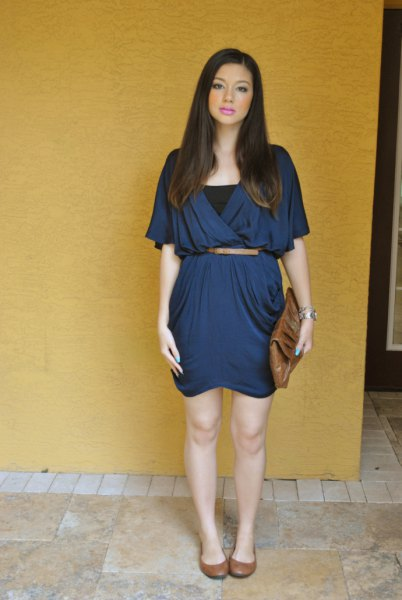 mini belt navy blue wrap dress with black vest top