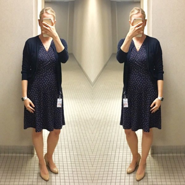 navy polka dot wrap mini dress with black cardigan