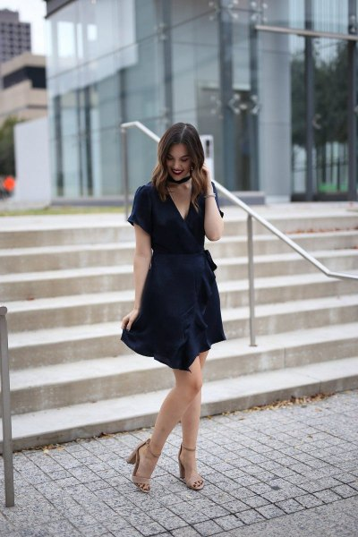 mini wrap dress with choker