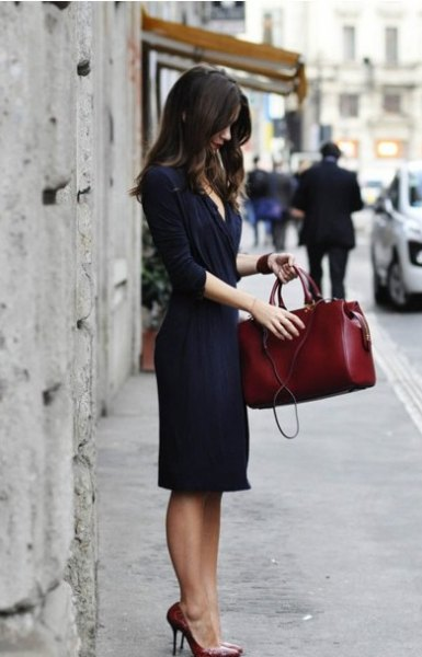 navy half sleeve midi wrap dress with brown leather case