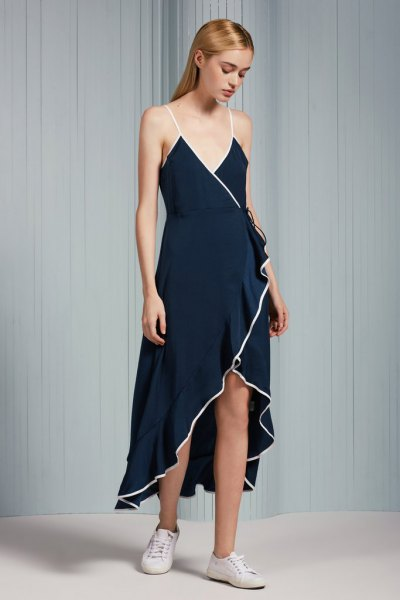 navy spaghetti strap maxi high low ruffle wrap dress