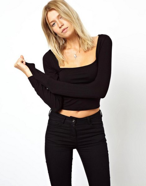 black long sleeve cropped square top with slim jeans