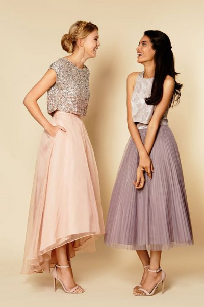 silver cap sleeve sequin crop with light pink maxi-extended skirt
