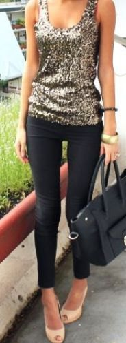 silver sequin with scoop neck with black skinny jeans