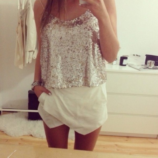 silver sequin vest with white shirt