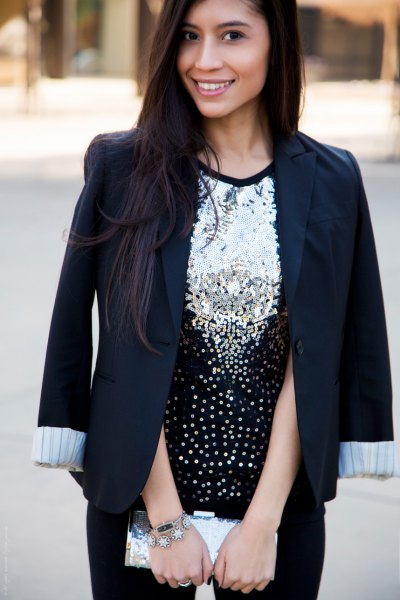 silver sequin top with black blazer