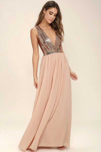 silver deep v-neck sequin top with blush pink chiffon pleated floor length skirt