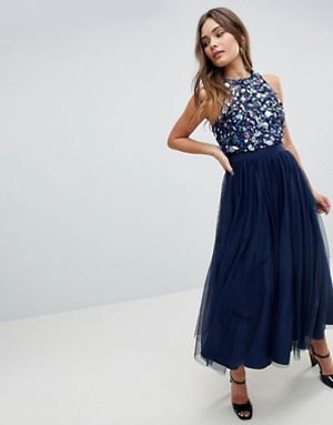 blue sequin lace top with navy blue maxi chiffon skirt