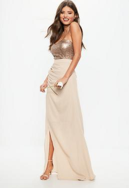 silver sequin vest with pink high maxi skirt