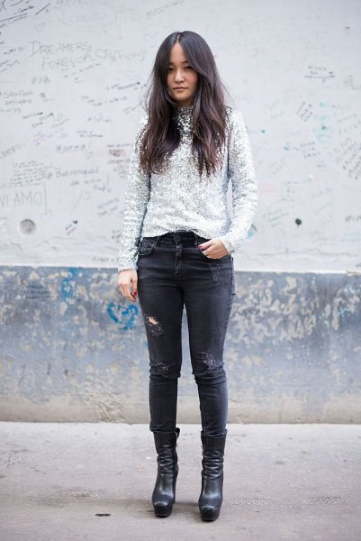 silver sequin shirt with black skinny jeans