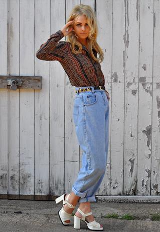 red and black printed shirt with high waist vintage cuffed jeans