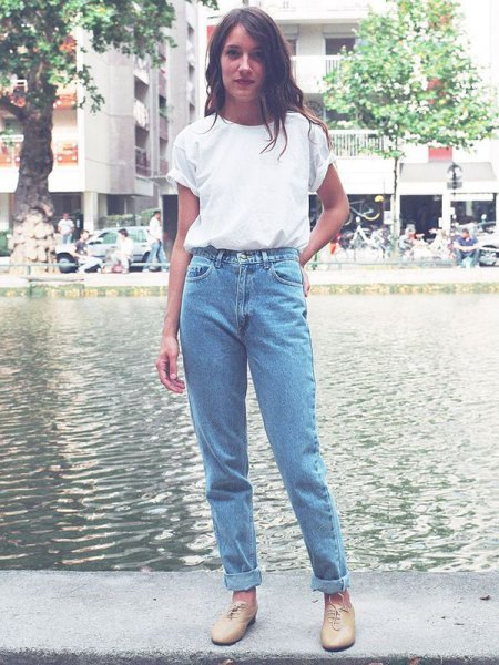 white t-shirt with blue cuffed vintage high waist jeans