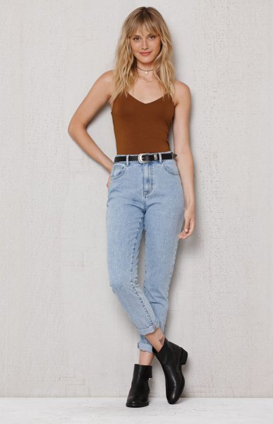 burgundy camisole with vintage high waist jeans