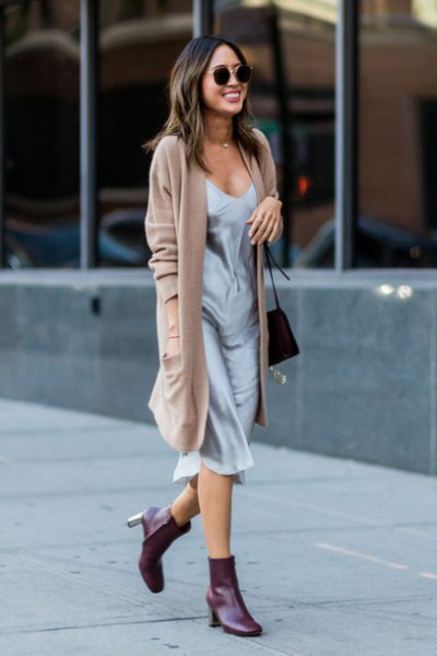 camel long cardigan with gray midi abrasive dress in silk