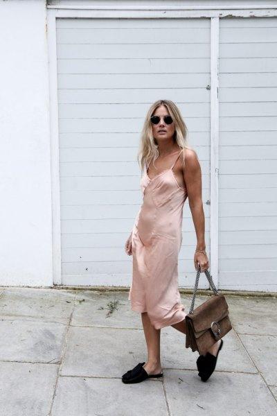 pink midi silk lace dress with black sliding sandals