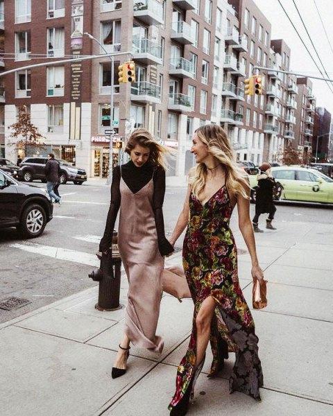 pink gold maxi slip silk dress with black knit neck knit sweater