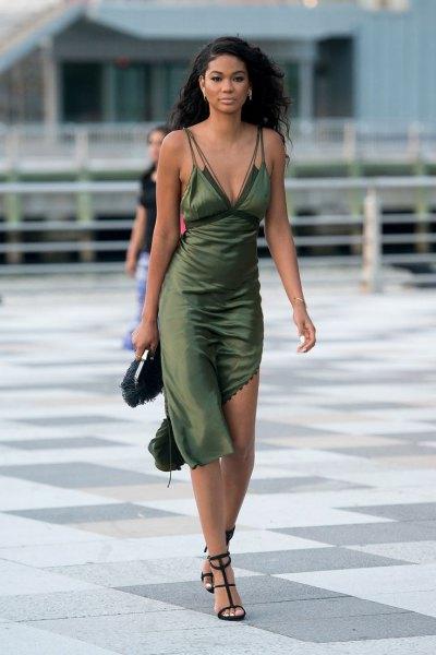 green asymmetrical midi silk tie dress with buttoned open toe heels