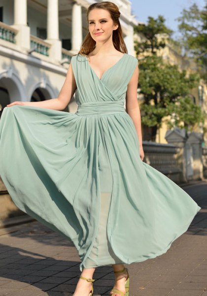 gray gathered waist deep v-neck maxi blown dress