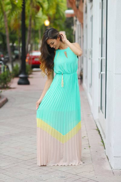 light blue and pink pink block maxi dress