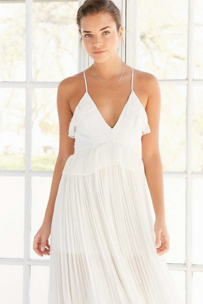 white deep v-neck pleated maxi dress
