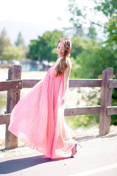 blush pink maxi pleated puffy dress