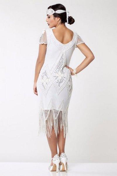 white lace sleeve midi flapper fringe dress