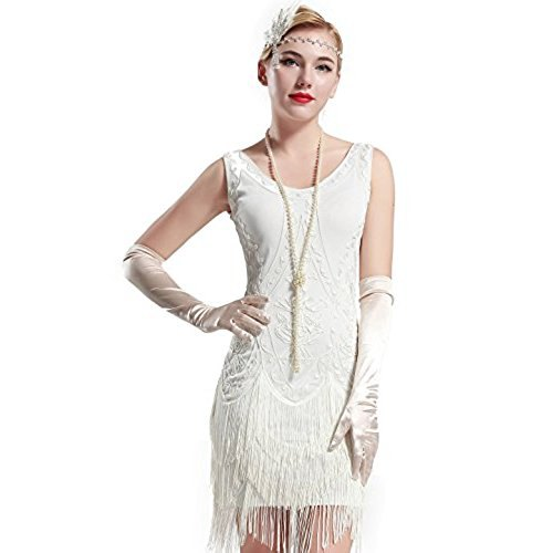 white mini French dress with long silk gloves