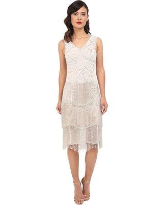 white sleeveless v-neck gold sequin midi flap dress