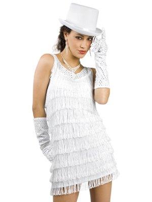 long gloves and white felt hat