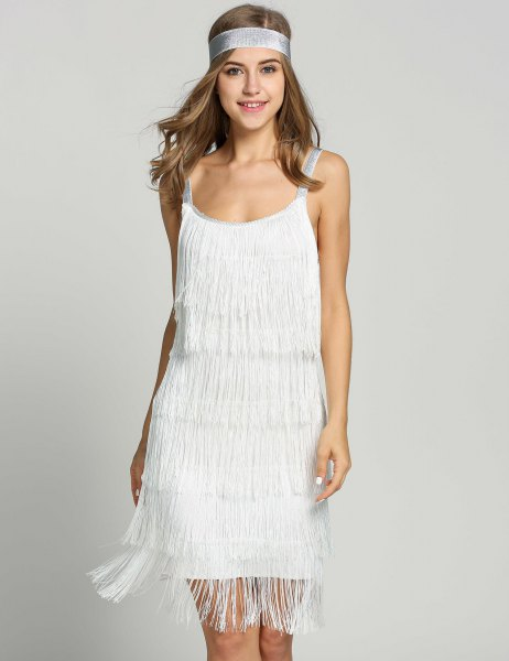 white mini French dress with vintage headband