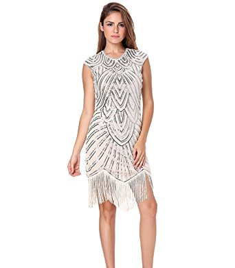 white and silver sequin sleeveless mini dress