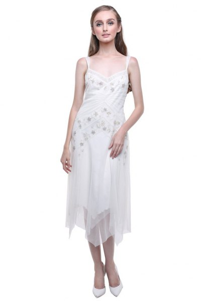 white low cut floral embroidered midi chiffon gown dress