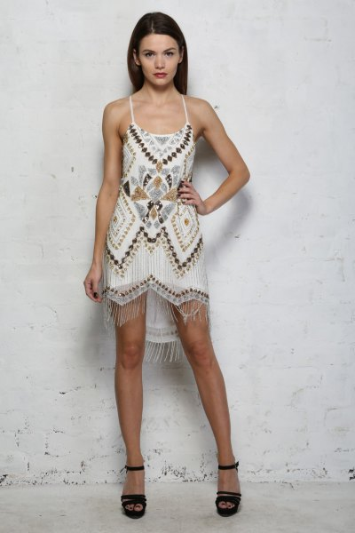 white tribal printed mini dress
