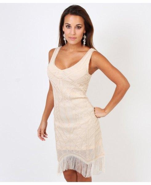 white scoop neck French mini dress