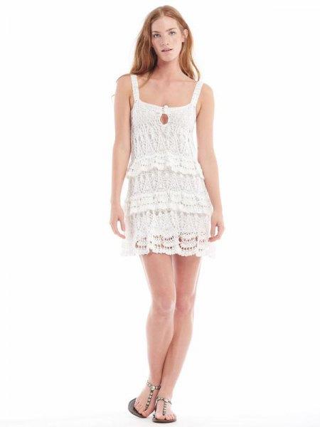 white square lace mini flapper dress
