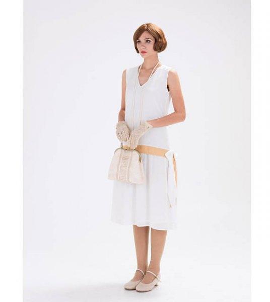 white sleeveless v-neck flap midi dress