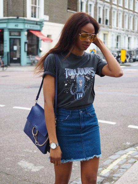 gray print sweater with blue mini-waist in denim skirt